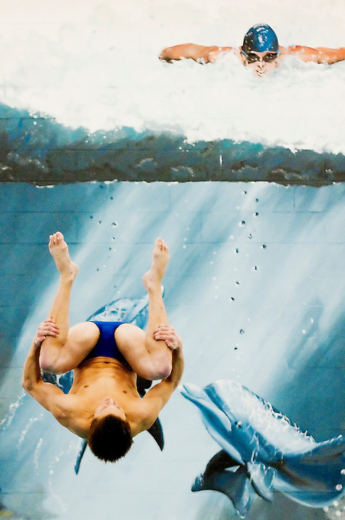 Matt Dixon   The Flint Journal..Jason Voight does an inward 2-1/2 somersault tuck dive at the Greater Genesee County Swimming and Diving Cahmpionships, Saturday, Jan. 22.