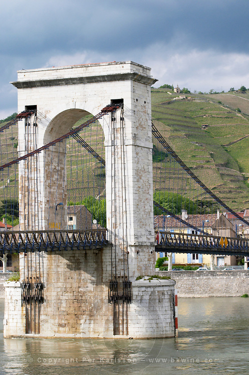 Passerelle Marc seguin, the cable bridge across the Rhone river hermitage rhone france