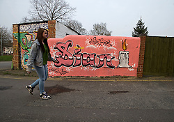 © under license to London News Pictures.  26/03/2011. A giant graffiti mural painted on a park wall in Swindon Town centre, wilts in memory of Sian O'Callaghan, whose body was found in Uffington, Oxfordshire. Photo credit should read: LNP