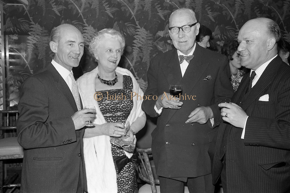 26/03/1963<br /> 03/26/1963<br /> 26 March 1963<br />  O'Kennedy Brindley Limited Annual Staff Dinner at the Gresham Hotel, Dublin. At the dinner were (l-r): Mr. Ken Murphy, Director, Mrs B.D. O'Kennedy, Director; Brian Desmond, Chairman and Mr. W. Lindsay, Director.