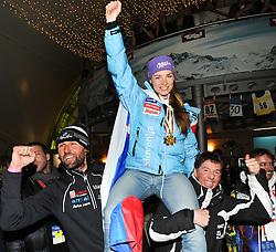 17.02.2011, Tirol Berg, Garmisch Partenkirchen, GER, FIS Alpin Ski WM 2011, GAP, Abend der Zugspitzarena, im Bild Andrea Massi, Gold Medaille und Weltmeister Tina Maze (SLO) und Livio Magoni  // Andrea Massi, Gold Medal and World Champion Tina Maze (SLO) and Livio Magoni during evening of Zugspitzarena Fis Alpine Ski World Championships in Garmisch Partenkirchen, Germany on 17/2/2011. EXPA Pictures © 2011, PhotoCredit: EXPA/ J. Groder