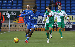 Ivan Toney of Peterborough United in action with Ruben Lameiras of Plymouth Argyle - Mandatory by-line: Joe Dent/JMP - 02/02/2019 - FOOTBALL - ABAX Stadium - Peterborough, England - Peterborough United v Plymouth Argyle - Sky Bet League One