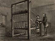 Thomas Highs' (1718-1803) double jenny, publicly demonstrated in Manchester Exchange, England. in 1772. Highs was awarded £200 for his invention.   From 'Great Industries of Great Britain' (London, c1880).  Engraving.