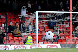 Bristol Rovers fans brought an inflatable bal, a reference to Forest Green Rovers game against Grimsby l - Photo mandatory by-line: Neil Brookman/JMP - Mobile: 07966 386802 - 14/02/2015 - SPORT - Football - Cleethorpes - Blundell Park - Grimsby Town v Bristol Rovers - Vanarama Football Conference