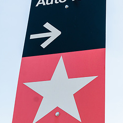 Gettysburg, PA / USA - October 25, 2014: An Auto Tour Directional Sign in the Gettysburg National Military Park.