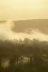 Early morning landscape with fog on the Val di Pesa in Tuscany, Val di Pesa, Tuscany, Italy
