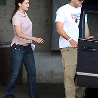 Ben Affleck leaves a Cambridge,MA hospital with Jennifer Garner after Affleck was treated for Migraine headache. Photo by Mark Garfinkel
