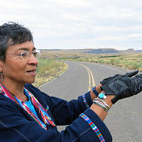 """Christine Lowery testified at the hearing about how she chose not to have children because she lives on the lip of the Jackpile Mine. """"I am entering the last decades of my life and now we are a Superfund site. There is no such thing as reclamation. You can never put things back. In the old days, even the sheepherders knew how dangerous this area was and they would not take their sheep up there to graze because the sheep would get sick. Yes, we were rich in uranium, and we have been sacrificed."""""""