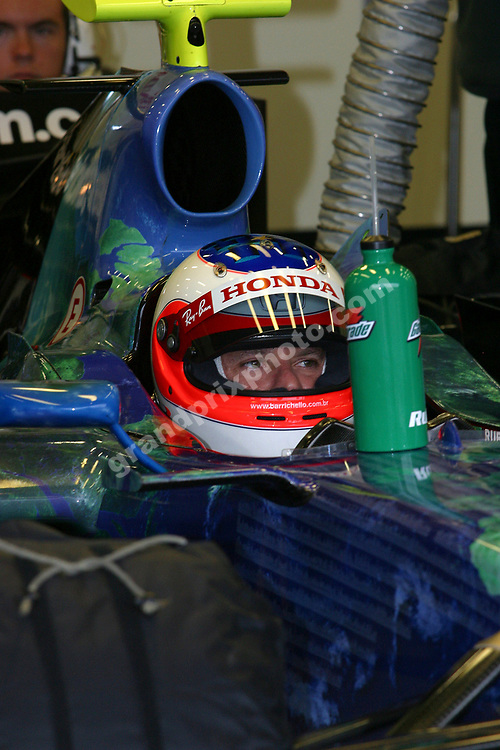 Drinks bottle for Rubens Barrichello (Honda) in the pits during testing in Spa-Francorchamps in July 2007. Photo: Grand Prix Photo