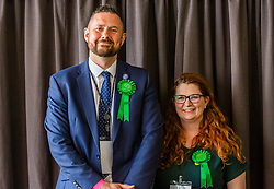 © Licensed to London News Pictures. 03/05/2019. Brighton, UK. Leader of the Brighton and Hove Green Party, PHELIM MAC CAFFERTY and HANNAH ELLEN are re-elected to the Brighton and Hove Council the day after the 2019 local elections. Photo credit: Hugo Michiels/LNP