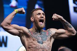 August 25, 2017 - Las Vegas, Neveda, U.S. - Conor McGregor makes a scary face. Mayweather Vs McGregor Weigh-In. (Credit Image: © Joel Marklund/Bildbyran via ZUMA Wire)