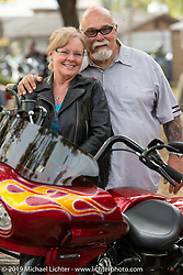 Dave Perewitz and Lora Wilkinson at the Perewitz Paint Show at the Broken Spoke Saloon during Daytona Beach Bike Week, FL. USA. Wednesday, March 13, 2019. Photography ©2019 Michael Lichter.