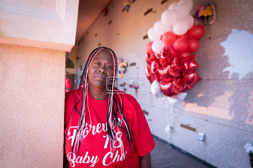 April 29, 2021. Inglewood, California. Lisa Simpson, who's son Richard Risher was shot and killed by LAPD officers when he was 18-years-old. Lisa was pictured at The Inglewood Park Cemetery on what would have been Richard's 23rd birthday.<br /> Photo copyright John Chapple / www.JohnChapple.com