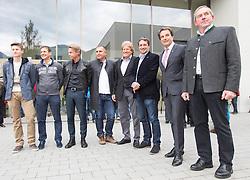 02.10.2015, Nussdorf Gebannt, AUT, Empfang für UCI Juniorenweltmeister Felix Gall, im Bild v.l. UCI Juniorenweltmeister Felix Gall, Günther Feuchter (Team Tom Tailor), Thomas Pupp, ÖRV Präsident Otto Flum, Rundfahrtsdirektor Wolfgang Weiss, Franz Theurl (Obmann TVB Osttirol), LA Hermann Kuenz // during the official reception for the UCI Junior World Champion Felix Gall in his home town. Nussdorf Decant, Austria on 2015/10/02. EXPA Pictures © 2015, PhotoCredit: EXPA/ Johann Groder
