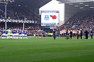 The ground hold a minute's applause for Remembrance Sunday. Barclays Premier League match, Everton v Sunderland at Goodison Park in Liverpool on Sunday 1st November 2015.<br /> pic by Chris Stading, Andrew Orchard sports photography.