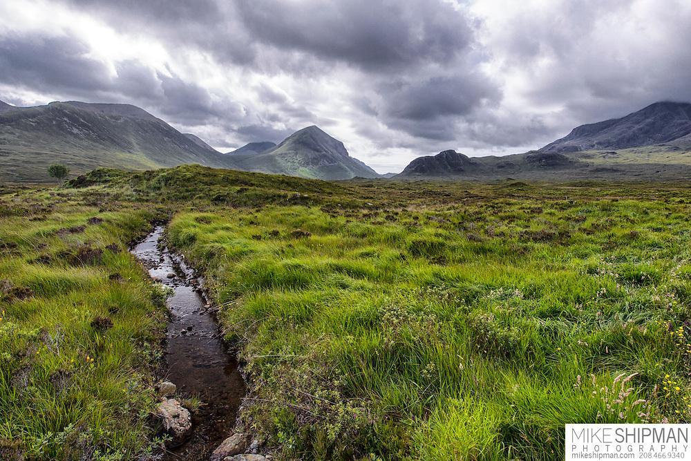 Meadow and stream, near Sligachan, Isle of Skye, Scotland, UK