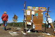 Info board at the camp site, where all the announcements were made. European Rainbow Gathering of 2011 in Portugal