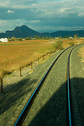 Lover rock - arriving to ANTEQUERA - Malaga province - Andalusia region - Spain. Route by train after the steps of Washington Irving, romantic American writer who travelled in 1829 from Seville to Granada, where he wrote 'Tales of the Alhambra'. Fascinated by the wealth and exoticism of the Spanish-Muslim civilization, Irving was responsible, along with the French writers of the 19th century, for the romantic image of Al-Andalus. Alberto Paredes / 4SEE