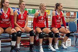 21-04-2019 NED: VC Sneek - Sliedrecht Sport, Sneek<br /> Final Round 2 of 5 Eredivisie volleyball - Sliedrecht Sport win 3-0 / Nienke Tromp #9 of VC Sneek, Lieze Braaksma #6 of VC Sneek, Hester Jasper #4 of VC Sneek, Anlene van der Meer #3 of VC Sneek