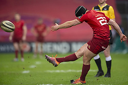 March 23, 2019 - Limerick, Ireland - Tyler Bleyendaal of Munster kicks a conversion during the Guinness PRO14 match between Munster Rugby and Zebre at Thomond Park Stadium in Limerick, Ireland on March 23, 2019  (Credit Image: © Andrew Surma/NurPhoto via ZUMA Press)