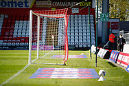 Ground shot of goal mouth during the EFL Sky Bet League 2 match between Stevenage and Bradford City at the Lamex Stadium, Stevenage, England on 5 April 2021.