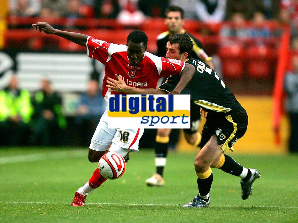 Photo: Tom Dulat/Sportsbeat Images.<br /> <br /> Charlton Athletic v Cardiff City. Coca Cola Championship. 10/11/2007.<br /> <br /> Lloyd Sam of Charlton Athletic and Tony Capaldi of Cardiff City with the ball.