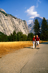California: Yosemite Valley, Couple hiking, Model Released..Photo copyright Lee Foster, 510/549-2202, lee@fostertravel.com, www.fostertravel.com..Photo #: caday2106