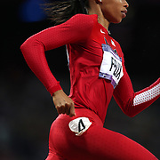 Allyson Felix, USA, in action in the Women's 200m at the Olympic Stadium, Olympic Park, during the London 2012 Olympic games. London, UK. 7th August 2012. Photo Tim Clayton