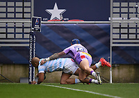 Rugby Union - 2019 / 2020 Heineken Cup - Final - Exeter Chiefs vs Racing 92 - Ashton Gate, Bristol<br /> <br /> Racing 92's Simon Zebo scores his sides first try.<br /> <br /> COLORSPORT/ASHLEY WESTERN