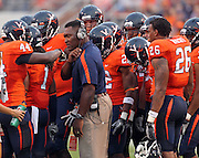 Sept. 3, 2011 - Charlottesville, Virginia - USA; Virginia Cavaliers linebackers coach Vincent Brown during an NCAA football game against William & Mary at Scott Stadium. Virginia won 40-3. (Credit Image: © Andrew Shurtleff