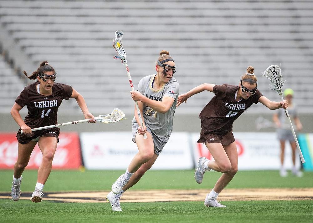 Caroline Raymond of the Army Black Knights during the Patriot League women's lacrosse quarterfinal lacrosse game between the Army Black Knights and Lehigh Mountain Hawks at Michie Stadium on April 28, 2019 in West Point, NY.
