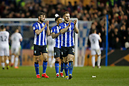 Sheffield Wednesday defender Tom Lees (15) applauds the fans at full time during the EFL Sky Bet Championship match between Sheffield Wednesday and Sheffield United at Hillsborough, Sheffield, England on 4 March 2019.
