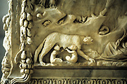 Romulus and Remus suckling from the she-wolf. Detail from marble monument to the twin founders of Rome