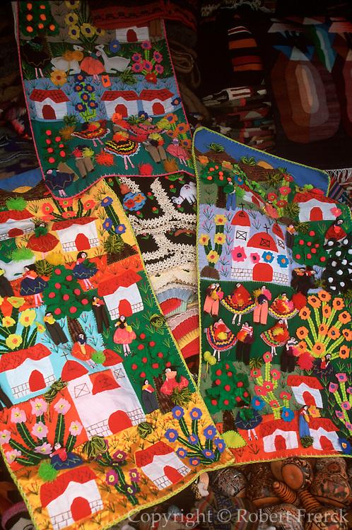 PERU, LIMA, CRAFTS: folkart appliqued village scenes