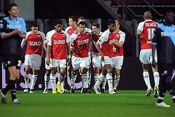 03-04-2010 VOETBAL: AZ - FC UTRECHT: ALKMAAR<br /> FC Utrecht verliest met 2-0 van AZ / Een balende Jan Wuytens en Nana Asare als Mounir El Hamdaoui de 2-0 scoort<br /> ©2010-WWW.FOTOHOOGENDOORN.NL