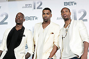 June 30, 2012-Los Angeles, CA : (L-R) Recording Artists Tyrese, Ginuwine, & Tank are TGT attend the 2012 BET Awards- Media Room held at the Shrine Auditorium on July 1, 2012 in Los Angeles. The BET Awards were established in 2001 by the Black Entertainment Television network to celebrate African Americans and other minorities in music, acting, sports, and other fields of entertainment over the past year. The awards are presented annually, and they are broadcast live on BET. (Photo by Terrence Jennings)