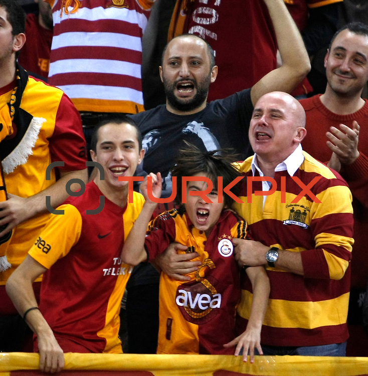 Galatasaray's supporters during their Turkish Airlines Euroleague Basketball Top 16 Group E Game 2 match Galatasaray between Olympiacos at Abdi Ipekci Arena in Istanbul, Turkey, Thursday, January 26, 2012. Photo by TURKPIX