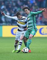 v.l. Thorgan Hazard (Gladbach), Thomas Delaney<br /> Bremen, 11.02.2017, Fussball, Bundesliga, SV Werder Bremen - Borussia Moenchengladbach<br /> <br /> Norway only