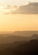 Canyon ridges in silhouette at sunset, Grand Canyon National Park, Arizona