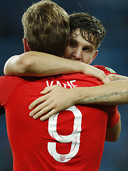 (l-r) John Stones of England, Harry Kane of England during the 2018 FIFA World Cup Russia round of 16 match between Columbia and England at the Spartak stadium  on July 03, 2018 in Moscow, Russia
