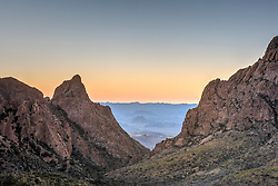 Sunset at the Window at the Chisos Basin, Big Bend National Park, Texas, USA.
