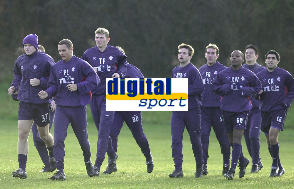 Tore Andre Flo signs for Rangers and traisn with squad for first time.<br />Pic Ian Stewart, November 23rd. 2000.<br />Torre Andre Flo trains with new team mates this morning.(Photo:Ian Stewart , Digitalsport)