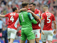 Football - 2018 / 2019 EFL Sky Bet League One Play-Off Final - Sunderland vs. Charlton<br /> <br /> Jason Pearce (6) celebrates with goalkeeper, Dillon Phillips at the final whistle, at Wembley Stadium.<br /> <br /> COLORSPORT/ANDREW COWIE