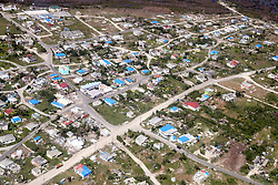 A view from the air as the Prince of Wales visit residents at the Holy Trinity School in Codrington, Barbuda as he continues his tour of hurricane-ravaged Caribbean islands.
