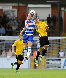 Lee Brown of Bristol Rovers challenges Reading's Jake Taylor - Mandatory by-line: Neil Brookman/JMP - 21/07/2015 - SPORT - FOOTBALL - Bristol,England - Memorial Stadium - Bristol Rovers v Reading - Pre-Season Friendly