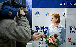 Sonja Roman with journalists at welcome press conference after European Athletics Indoor Championships Torino 2009, AZS, Ljubljana, Slovenia, on March 9, 2009. (Photo by Vid Ponikvar / Sportida)