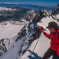 Ski Mountaineer Mike Rufer prepares to descend the V-Notch Couloir above the Palisade Glacier in California's Sierra Nevada