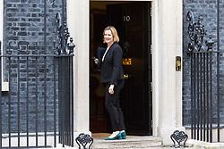 London, September 5th 2017. Now wearing her smart shoes after arriving at Downing Street in her trainers, Home Secretary Amber Rudd attends the first UK cabinet meeting at Downing Street after the summer recess. ©Paul Davey