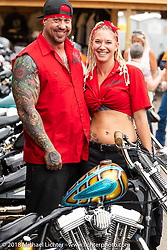 Will Ramsey and Jessica Seidl at the Iron Horse Saloon during the 78th annual Sturgis Motorcycle Rally. Sturgis, SD. USA. Sunday August 5, 2018. Photography ©2018 Michael Lichter.