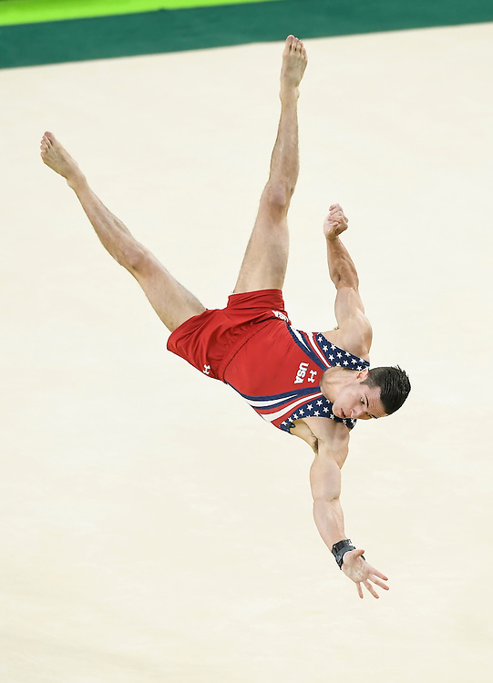 United States men's gymnast Alexander Naddour performed in the floor exercies in the men's team final at Rio Olympic Arena on Monday at the 2016 Summer Olympics Games in Rio de Janeiro, Brazil. The United States finished fifth overall.
